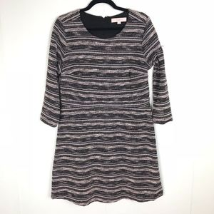LOFT Black & White Striped Dress Size 12